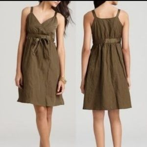 EILEEN FISHER Olive Cotton Sateen Blend Dr…